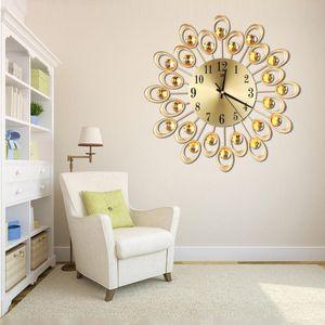 Luxe Diamond Flower Grand mur Montre Vintage Metal Art Horloge murale Salon Silence Chambre design moderne Home Decor Horloge