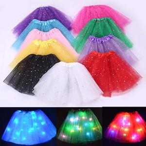 Light Up LED Девушки Детская Одежда Блестящие Звезды Юбки Пачки Принцессы Пачки Тюль Pettiskirt Дети Балет Танцевальная Одежда