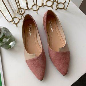 YOUYEDIAN Chaussures en cuir Splice couleur Chaussures Slip de ballerine sur Chaussures Femmes Flats Mode Pointu Ballet Toe Chaussures Buty damskie