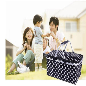 Picnic Baskets Folding Outdoor Camping Cooler Insulated 600D Oxford Aluminum Frame Handles Foldable Shopping Basket