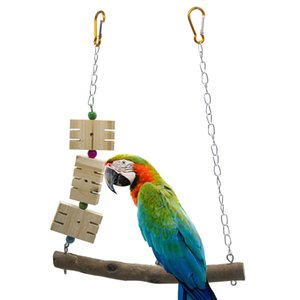Pappagallo Bird Toys Raw Bring Skin Iron Chain Slotting Swing Jade Gnawing Wood
