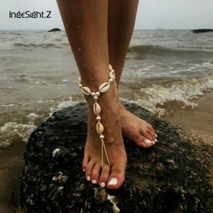 Bohemian Shell Halhal Bilezik Charm Simüle Inci Ayak Takı Plaj Çıplak Ayakkabı Sandalet Kadınlar Için Ayak Bileği Halhal