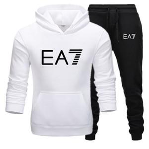 Hommes Survêtement 2019 Printemps Automne Casual Male Sweats à capuche solide Homme Couleur Sweat Hoodies Tops EA 7Sweatshirts