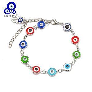 Lucky Eye Fatima Hamsa Hand Multi Color Evil Eye Charm Bracelet Alloy Silver Color Chain Bracelet for Women Girls Jewelry UF8390