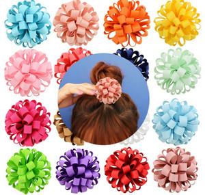 3 pulgadas de diseño de moda de la cuerda flor de la cinta grosgrain Con pelo elástico floral Bandas Accesorios A201