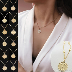 12 별자리 여자를위한 목걸이 초커 창조적 인 간단한 조디악 징후 골드 실버 펜던트 목걸이 패션 주얼리 선물