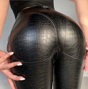 20s Mulher designer Peach nádega de couro Calças de cintura alta apertada Europeia Corpo e American Style Sexy alta Elastic Pants PH + ZY20040305