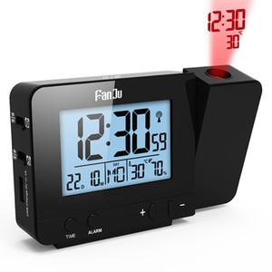 Fanju FJ3531 Projeksiyon Çalar Saat Dijital Tarih Erteleme Fonksiyonu Arka Işık Dönebilir Yukarı Projektör Fonksiyonlu Led Saat Wake