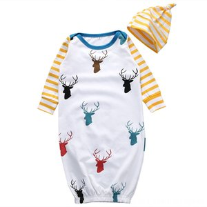 Newborn Girl Deer Long Sleeve Sleeping Robes With Yellow Striped Pajamas Baby & Kids Clothing Hat Cute Baby Girl Print Sleeping Robes Xmas G