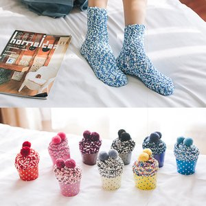 Warm Winter New Thick Coral Fleece Socks Fashion Sweet Cake Women's Winter Tube Terry Socks Massage Bottom Thick Snow Socks christmas gift