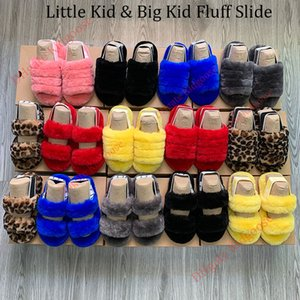 Çocuklar Sandalet Ah Fluff Evet çocuk Slaytlar'ın terlik Kürk Sandale küçük kızlar Kürklü Terlik Ayakkabı Platformu Pantoufle Terlik Slaytlar Sandalet B