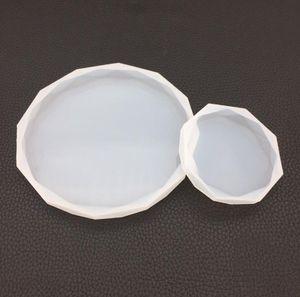 Rodada Rhombus Silicone Moldes resina epóxi Mold Large Circle Silicone Coaster Tile molde de resina e Polymer Clay Conselho DIY Artesanato Ferramentas SN1503