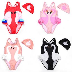 2019 nouvelles filles maillot de bain une pièce + bonnet de bain Impression numérique maillots de bain maillots de bain costumes de modèle de bande dessinée images 1-12 ans