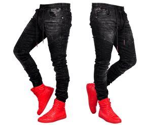 Negro Deportes del basculador de los pantalones vaqueros para hombre Ropa elástico de la cintura los pantalones de Jean pantalones largos Pantalones Hombres Pantalones largos