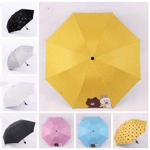 Guarda-chuvas de três dobrável portátil Mini Folding Umbrella Plaid curto Handle Umbrella Sun Umbrella Factory Direct Atacado LXL1175-1