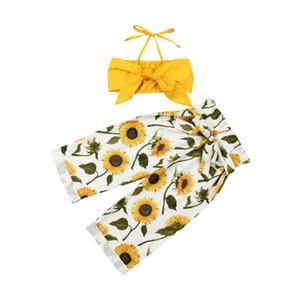 Emmababy 2PCS Tout-petit bébé layette Halter Gilet Hauts Pantalons Tenues de tournesol Sunsuit