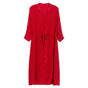 Women Red Dress 100%Silk V neck Elegant T Shirt Dress Women 2020 Summer Sash Midi Dresses Silk Clothes Vestidos