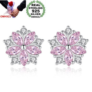 OMHXZJ Wholesale Personality Fashion Sweet Woman Girl Gift White & Pink Sakura Zircon 925 Sterling Silver Stud Earrings YS465