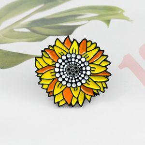 kız çocuk için Ayçiçeği portakal çiçeği pimleri güzel parlak kişilik emaye özel yaratıcı broş mücevher hediye