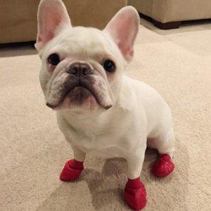 2019 Nuevos Animales Botas Calcetines impermeables zapatos de goma para perros lluvia no del resbalón Cachorros Cachorro al aire libre zapatos del color del caramelo Suministros para mascotas