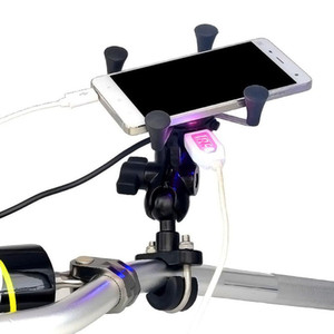 Soporte para teléfono celular cargador de la motocicleta soporte para teléfono CS-416A3 monte motocicleta universal USB para Iphone Xiaomi Samsung - Negro