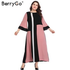 Berrygo Kadınlar Zarif Parlama Kollu Artı Boyutu Elbiseler Splice Uzun Maxi Parti Kadın Yaz Seksi Pembe Plaj Elbise Q190521