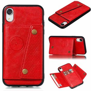 Cas de téléphone en cuir PU pour iPhone XR x 6 6S 7 8 Plus 11 PRO XS Max Card Slot Slot Cover Sam. NOTE 10 cas S8 S8Plus