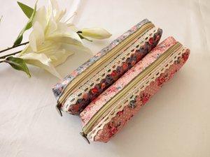 Estuche de lápices Estampado floral Tejido de tela Bolígrafo Bolsas de trabajo hecho a mano pequeñas bolsas de almacenamiento Escuela householod Suministros DL_CR018