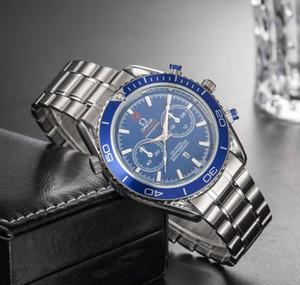 quartzo homens de aço completa nova Qualidade Sea cavalo Mens Relógios Top Marca de luxo Sports Business Assista Orologi di lusso choque relógio