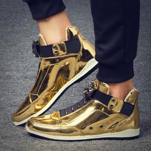 2019 Fantastico Uomo High Top Uomini Gold Glitter Sneakers Bling Zip piattaforma pattini degli appartamenti uomo Argento Glossy testa krasovki Leopard Shoes T200413