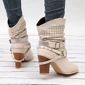 2019 femininas Shoes Tubo Rivet botas de inverno ocidental Bota de pele Moda mediana retro bracelete Cowboy Belt Martin Bota do salto alto