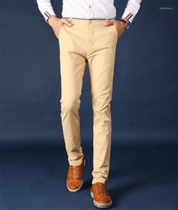 Con bolsillo pantalones rectos Diseñador mediados de cintura Casual lápiz de los pantalones de verano para hombre de la ropa de moda de la cremallera de la mosca