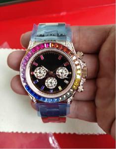 Классический розовое золото Алмаз Радуга круг 116595 автоматические механические мужские женские часы хронограф 40 мм