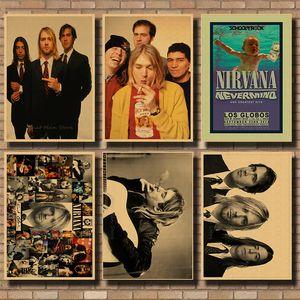Vintage Poster Nirvana Kurt Cobain dormitório Kraft Rocha Orchestra pintura decorativa Poster retro / 40 30 centímetros *