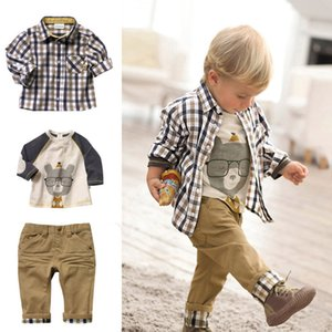 Spring autumn Toddler Kids Baby Girls Boys Cartoon Long Sleeve Tops +Pants +Plaid Coat Outfits boy Children Sets Clothing 0-5Years