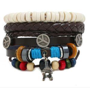 2020 Hot sale 100% genuine leather bracelet DIY iron tower Pendants Beading Men's Combination suit Bracelet 3styles 1set