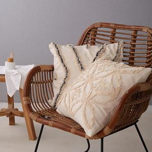 Bej Yastık Kapak Vintage İşlemeli Çiçek Fas Stil Yastık Kapak 45x45cm Ev Dekorasyon Açık Yastık Kılıfı atın Zip