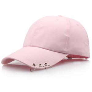 Casual tres anillos Pin gorra de béisbol de moda al aire libre del casquillo del Snapback ajustable sólido Hip Hop color del sombrero del casquillo unisex de algodón Ball Caps DBC VT0974