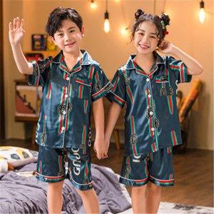 Pajamas New Estate ragazza del ragazzo manica corta pigiama Suit lettera di Kid Pattern bambini manica corta Home Abbigliamento