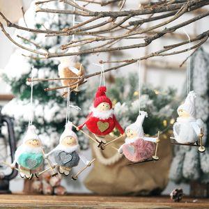 Skiing Plush Angel Christmas Decorations Home Colgante Ornament Drop para Holiday Festive Home Decor