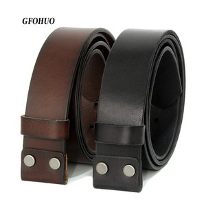 Gfohuo Vintage No Buckle Belt Belt Smooth Buckle Black Coffee Belts Hombres Luxury Soild Genuine Only Leather With Buckle Y19051803