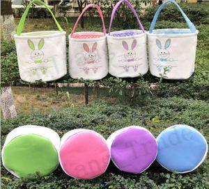 Canvas Cesta de Páscoa Coelho desenhos impressos Bucket Bolsas DIY cestas de Easter bonitos sacola Easter Eggs presente Bolsa Coelho Coloque Basket 4 cores