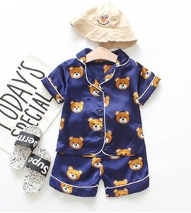Childrens Pajamas Sets Boys Girls Cartoon Bear Home Wear Kids Two-Piece Set Short-Sleeved +Shorts Suit Child Home Clothes