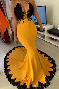2020 sexy abiti africani Halter raso promenade della sirena merletto di Applique delle donne di spettacolo I vestiti puri del partito del collo lungo da sera in raso abiti BC3341