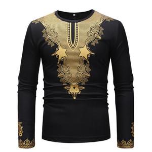 Новая мода African Печать Повседневный пуловер с длинными рукавами в качестве основы T-рубашка этнической одежды