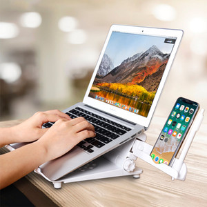 Adjustable Laptop Stand For Macbook Pro Air iPad Foldable Support Notebook Cooling Pad Bracket Base Desk With Phone Holder