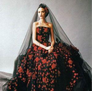 Vogue Velo largo catedral velos de novia de la boda gótica negra para las mujeres 2019 Vestidos Una capa blanda de corte del borde de Tulle del partido Photostudio