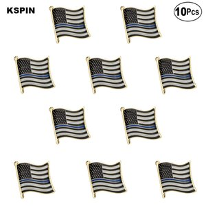 Ince Mavi çizgi 1 bayrak Yaka Pin bayrak rozeti broş Pins rozetleri 10 adet