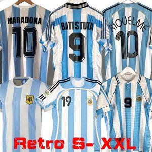 World cup Versão Retro 1986 Argentina casa jérsei de futebol Messi Maradona Caniggia 1978 1996 Football Shirt Batistuta 1998 RIQUELME 2006