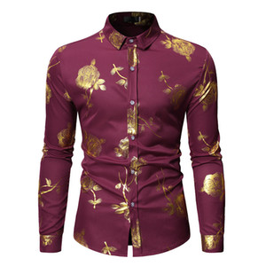 Spring Mens Casual Shirts Gilding Floral Printed Long Sleeve Male Shirts Lapel Neck Single Breasted Boys Tshirts